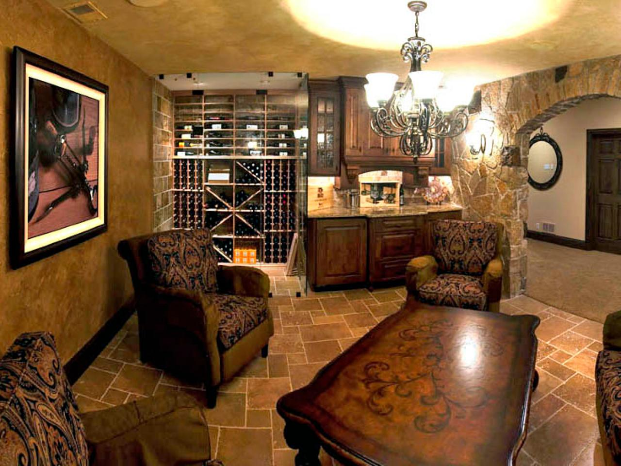 Old World Inspired Basement Wine Cellar And Tasting Room