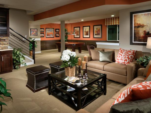 Basement Game Room This Orange And Brown Game Room Features A Comfy