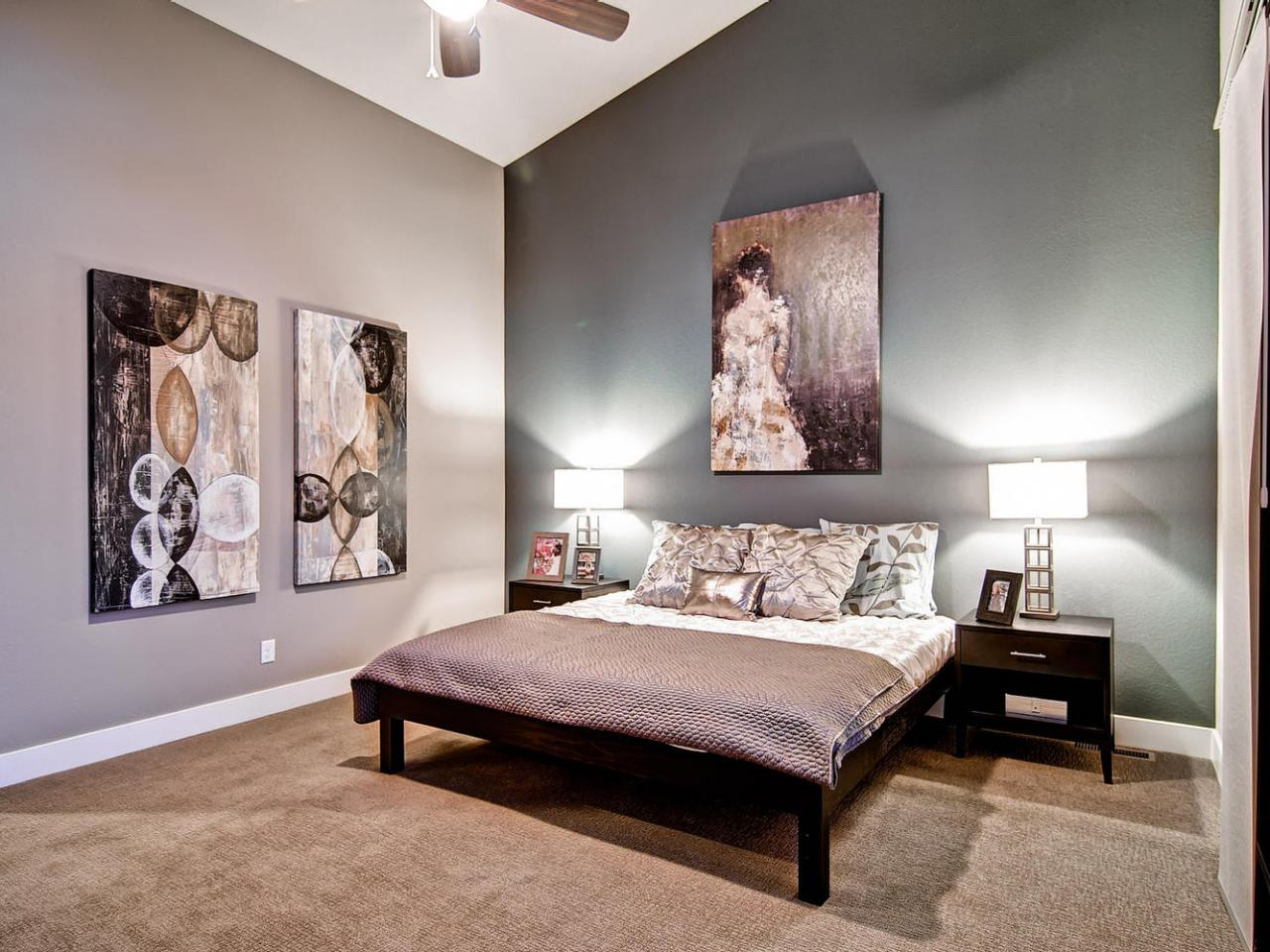 Gray master bedrooms ideas hgtv Decorating ideas for bedroom with gray walls