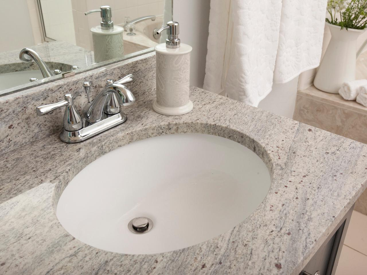 Bathroom granite countertop costs hgtv for Bathroom countertops
