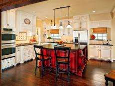 Traditional Kitchen With Bold Red Island