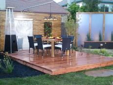 Floating Wood Deck With Dining Table and Chairs