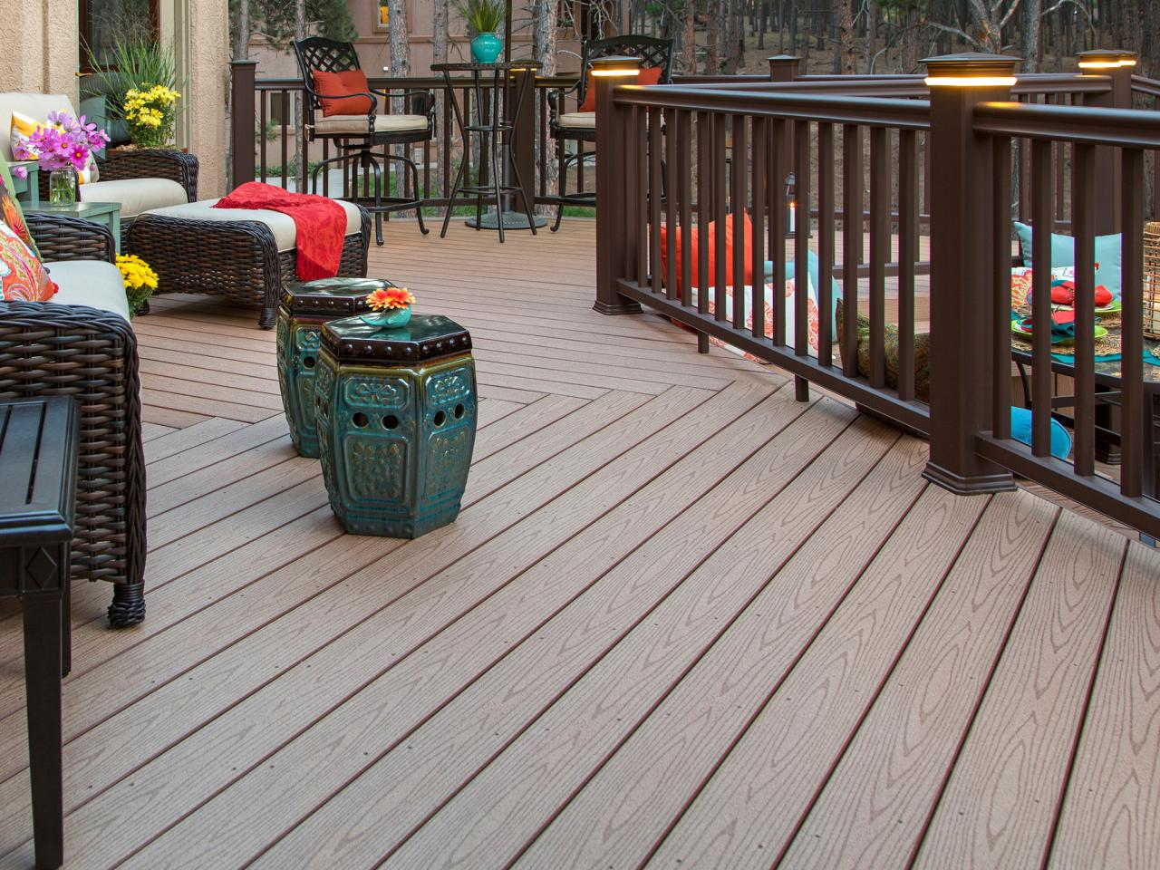 Decking materials composite decking hgtv for Outside decking material