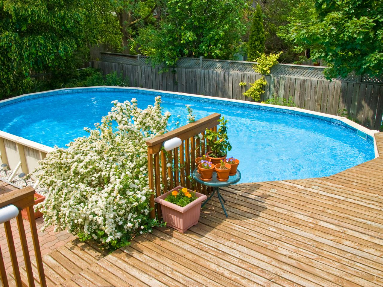 pool deck a wood deck around an above ground swimming pool photo by