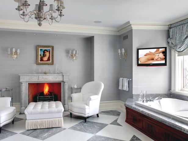 Elegant Bathroom With Fireplace and Seating Area