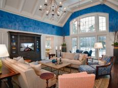 Blue and White Traditional Living Room With Vaulted Ceiling