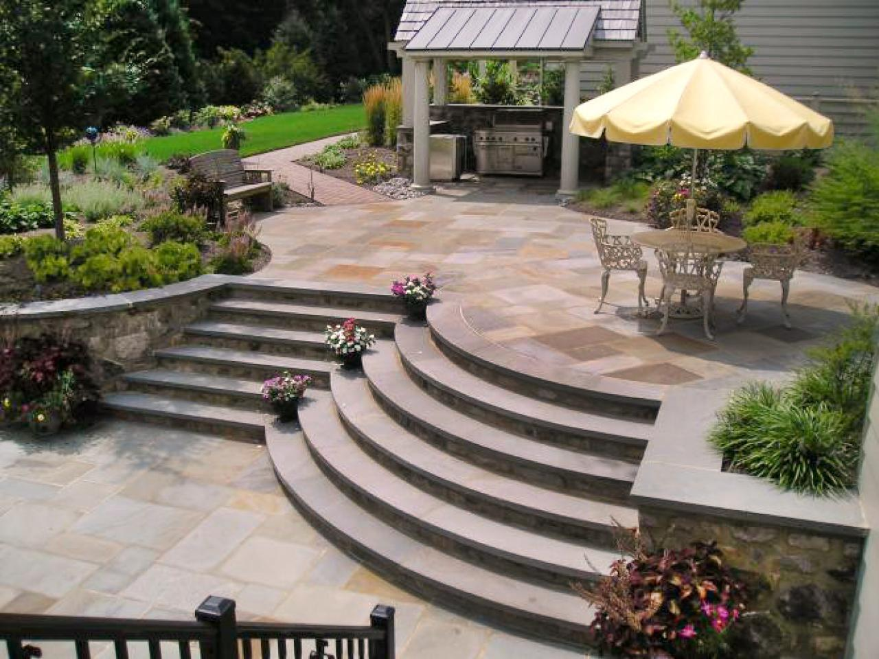 Brick paver patios hgtv for Outside landscape design