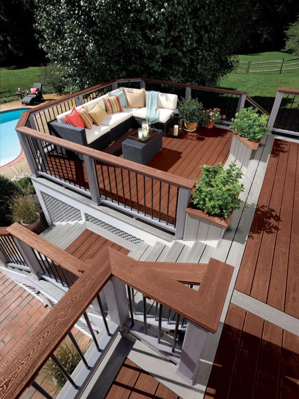 Deck design ideas hgtv for Outside decking material
