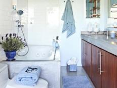 Transitional Blue Spa-Like Bathroom