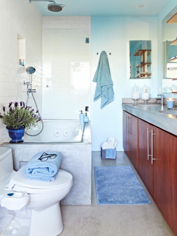 Transitional Blue Spa-Like Bathroom