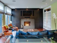Contemporary Family Room With Sleek Fireplace