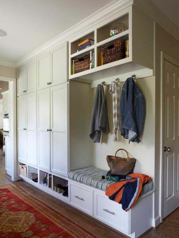 Transitional Mudroom With White Cabinetry