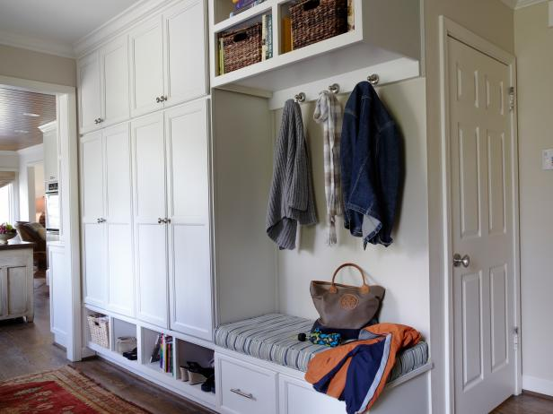 Mudroom Wall Storage Unit : Mudroom shelving unit with small bench and coat hooks hgtv