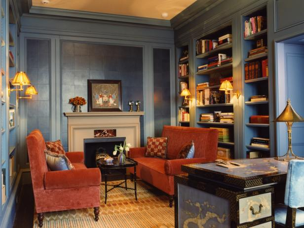 Transitional Blue Home Office With Fireplace