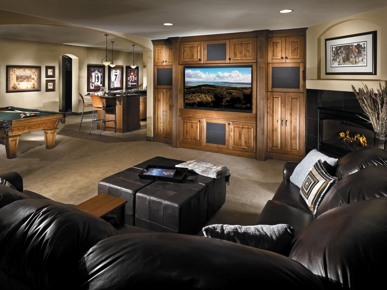 Home Basement Designs Interior Pleasing Basement Design And Layout  Hgtv Review