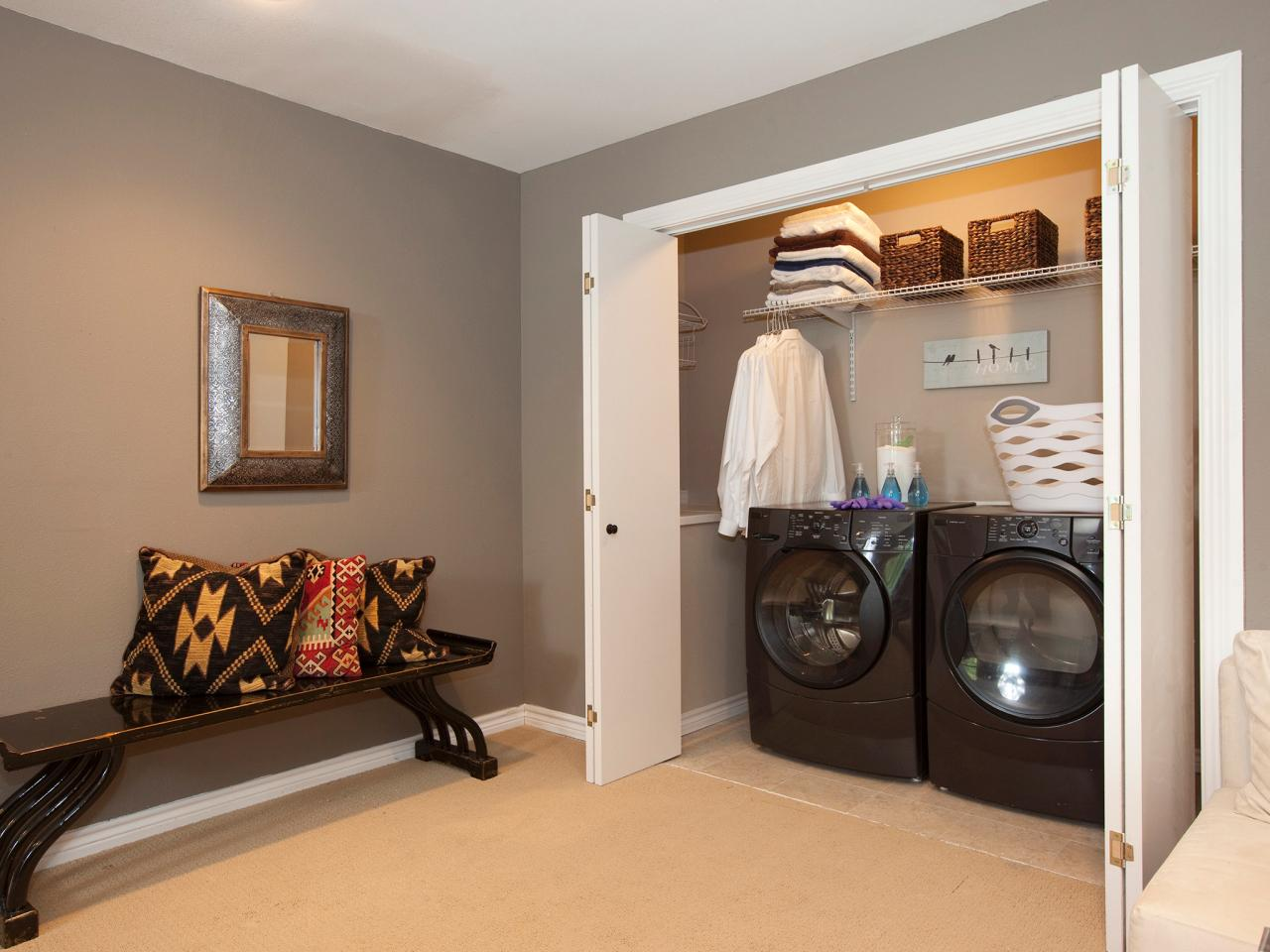 Laundry room ideas pictures options tips advice hgtv for Bathroom closet remodel