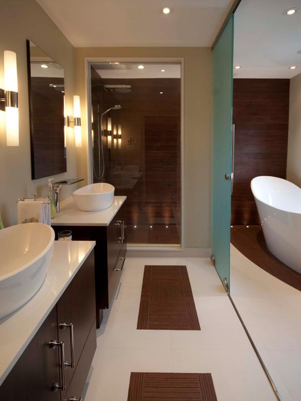 Contemporary bathroom with freestanding tub photo library hgtv for Photos of contemporary bathrooms