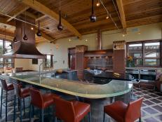 Large Kitchen With Wooden Ceiling