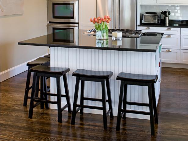 Black and white kitchen island