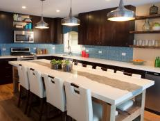 Brown and Blue Contemporary Kitchen With Large Kitchen Island