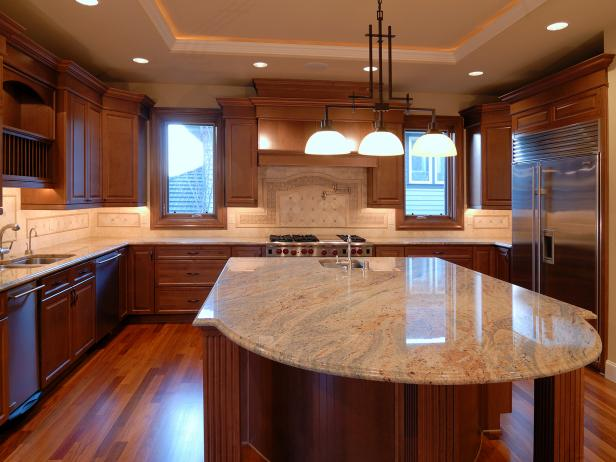 Open kitchen and island