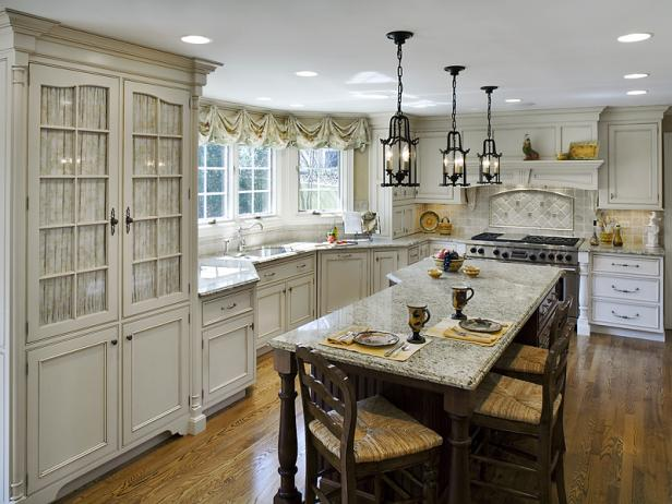 French country kitchens hgtv - Country style kitchen cabinets design ...