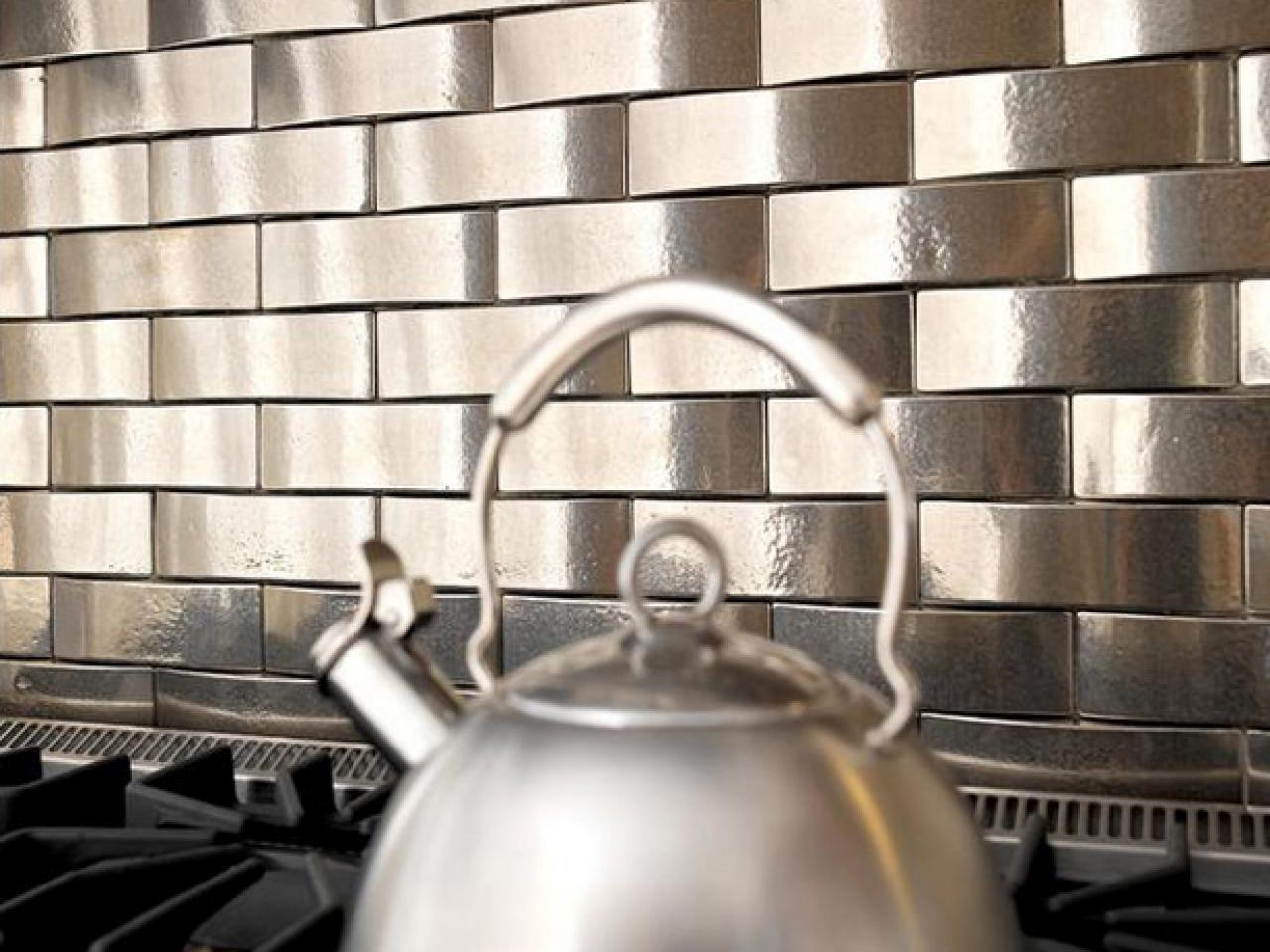 Metal tile backsplashes hgtv for Kitchen tiles pictures