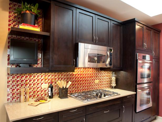 dark wood kitchen cabinets with patterned backsplash - Cabinet Stain
