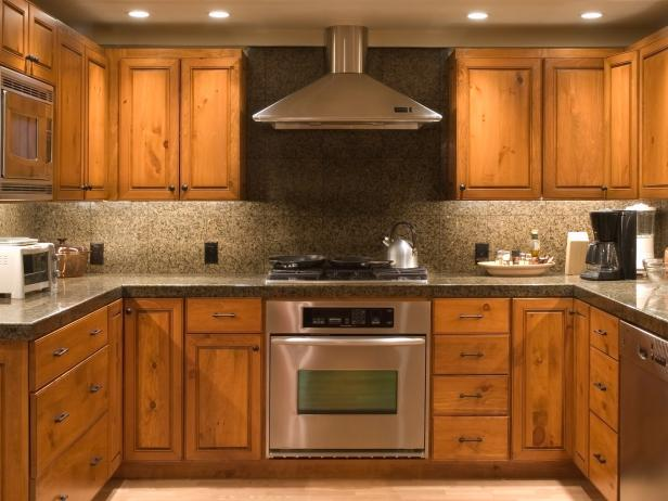 brown kitchen with unfinished cabinets - Cabinet Stain