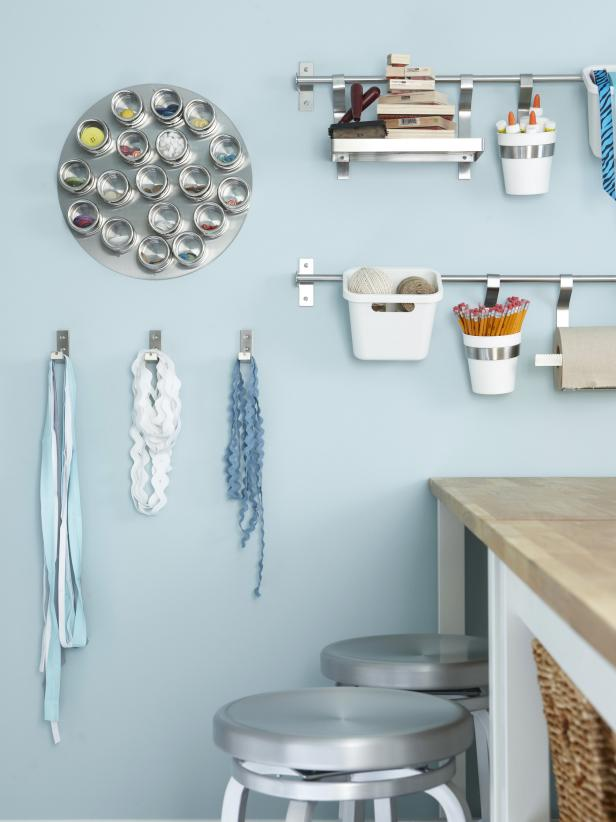 Blue Contemporary Craft Room With Wall Mounted Storage