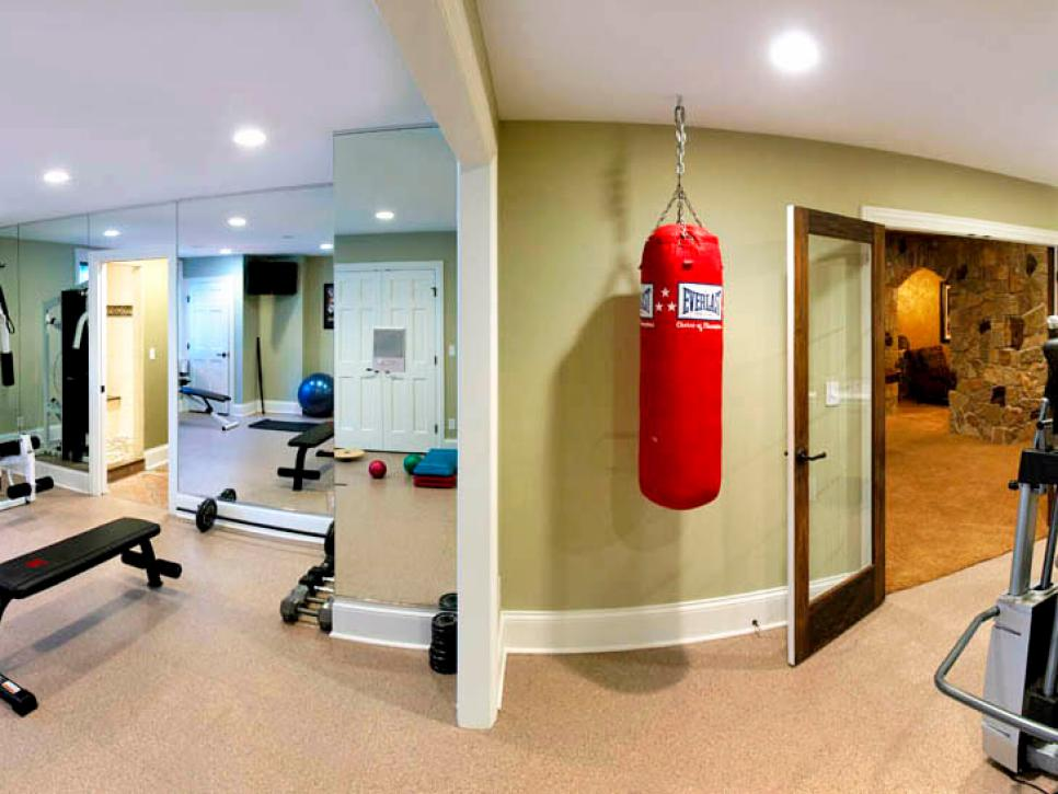 Custom family friendly basement bryan sebring hgtv for Basement workout room