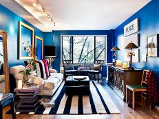Living Room With Dark Blue Walls