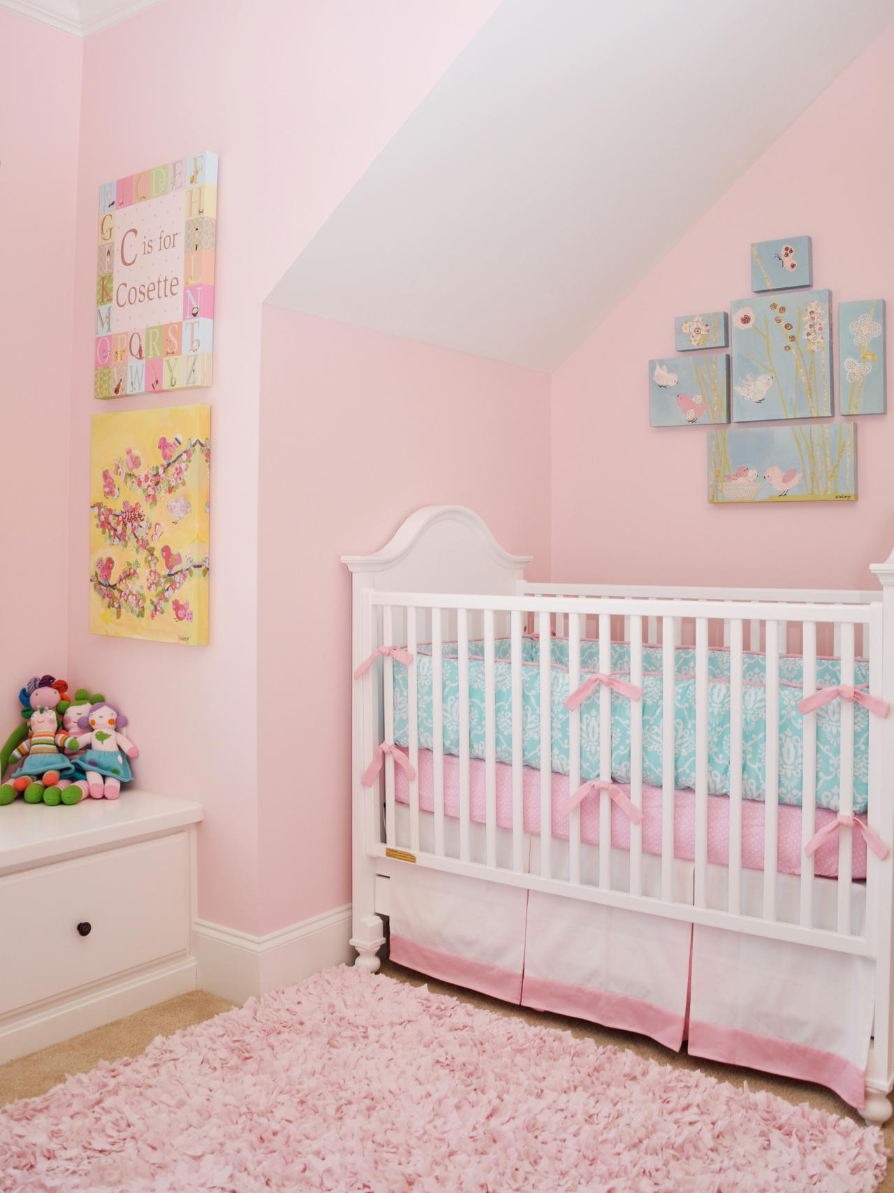Pink bedrooms pictures options ideas hgtv for Girl nursery lighting