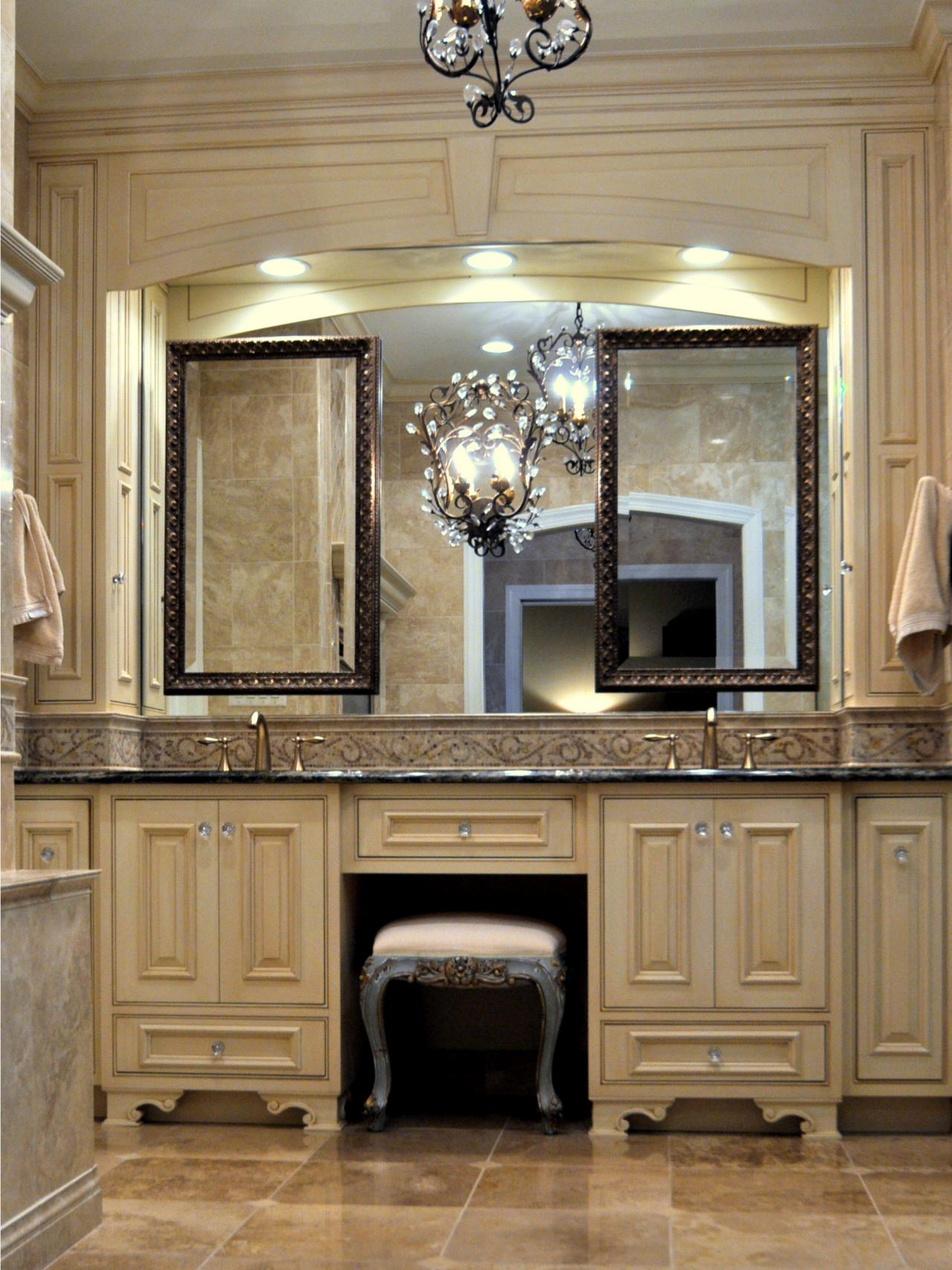 Bathroom vanities with makeup area for Bathroom vanity designs