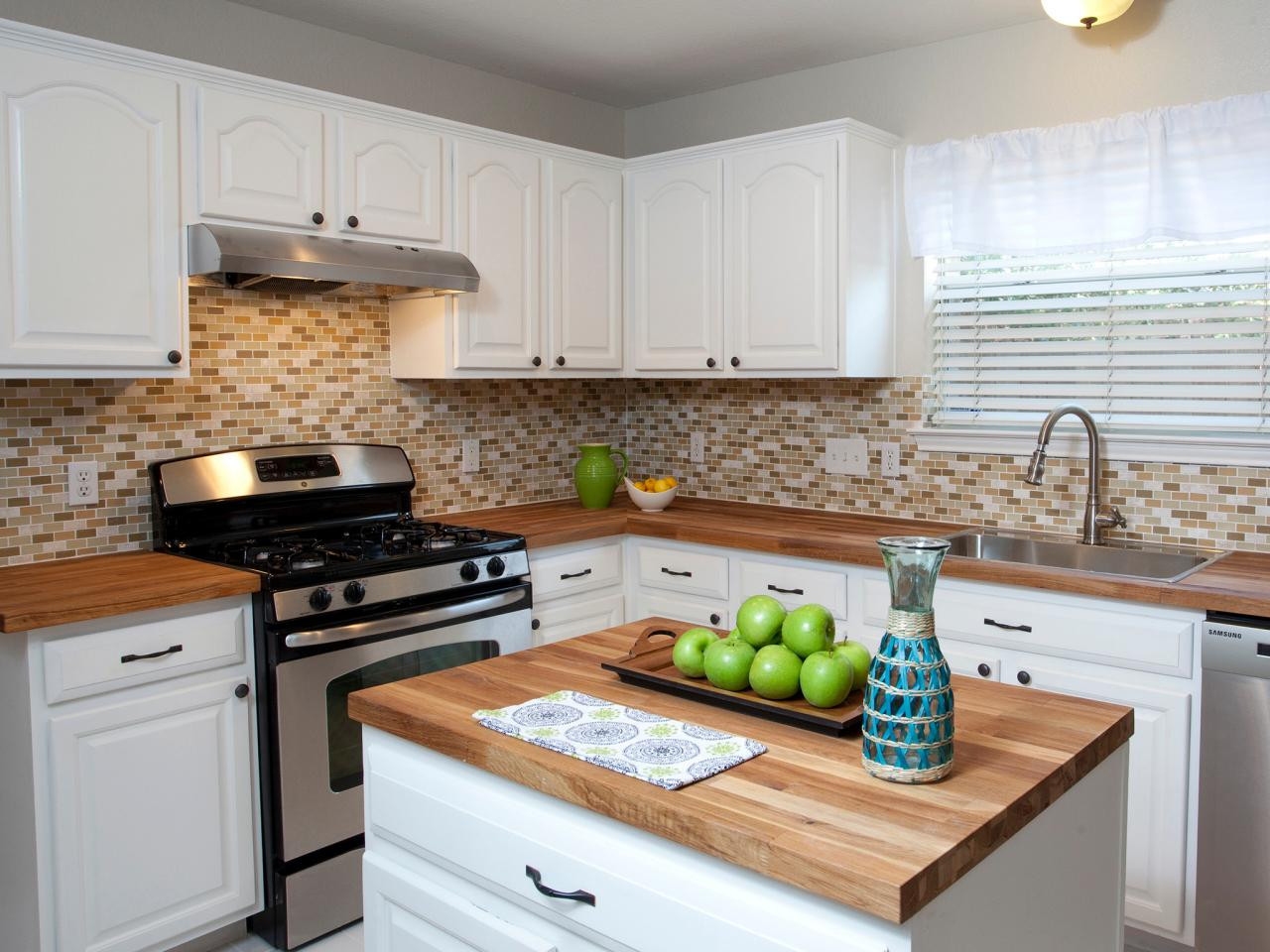 Wood kitchen countertops hgtv for Kitchen countertops