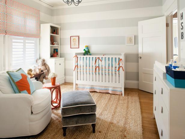 Contemporary Nursery with Gray and White Striped Walls