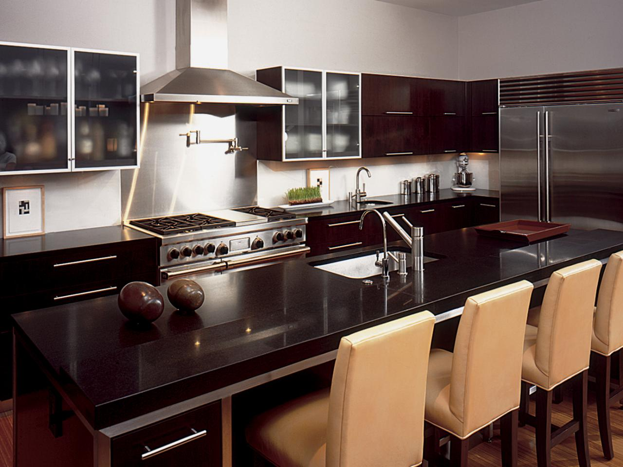 Dark granite countertops hgtv for Black kitchen design