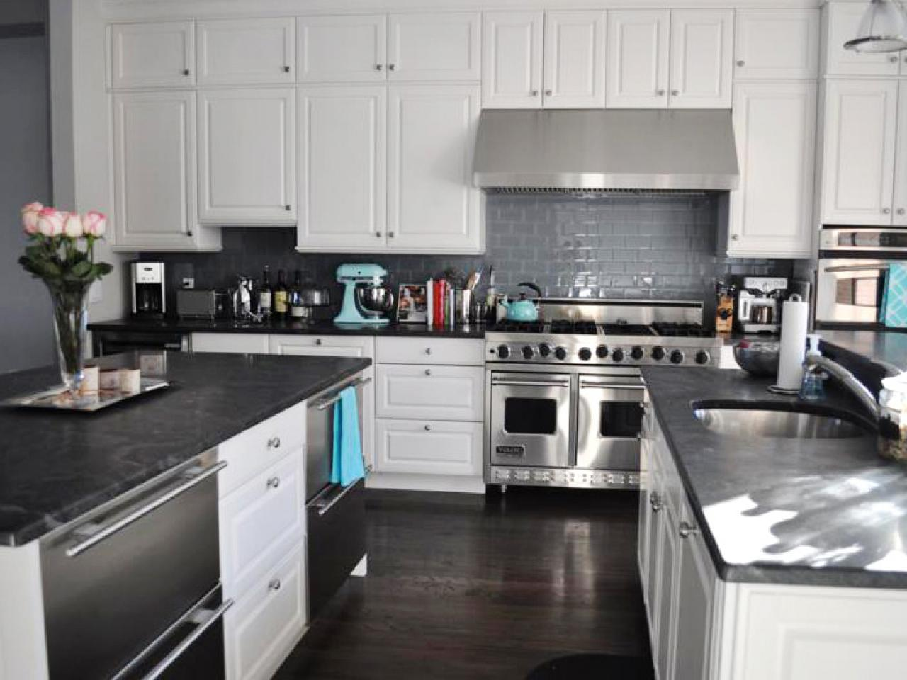 kitchen island and white cabinets
