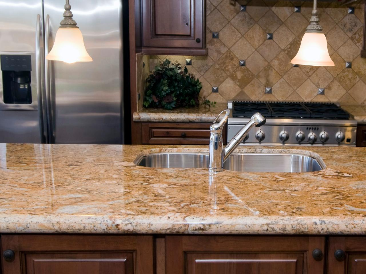 Neutral granite countertops hgtv for Kitchen countertops