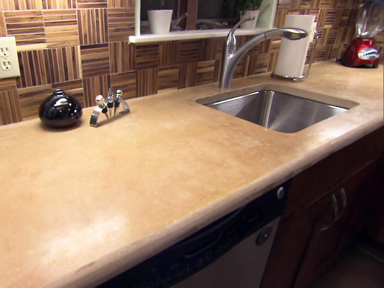 Concrete kitchen countertop options hgtv for Kitchen countertops