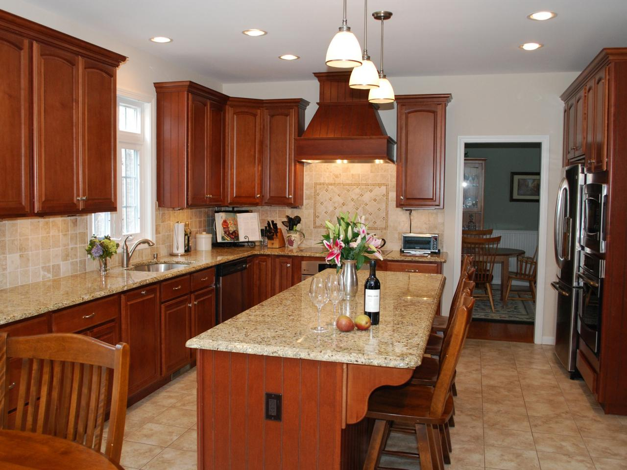Medium Oak Kitchen Cabinets Granite Countertop Colors Hgtv