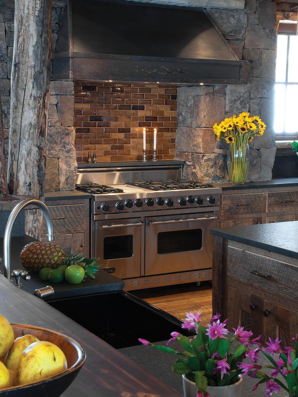 Editor 39 s pick 15 cozy cabin designs hgtv for Rustic kitchen backsplash tile