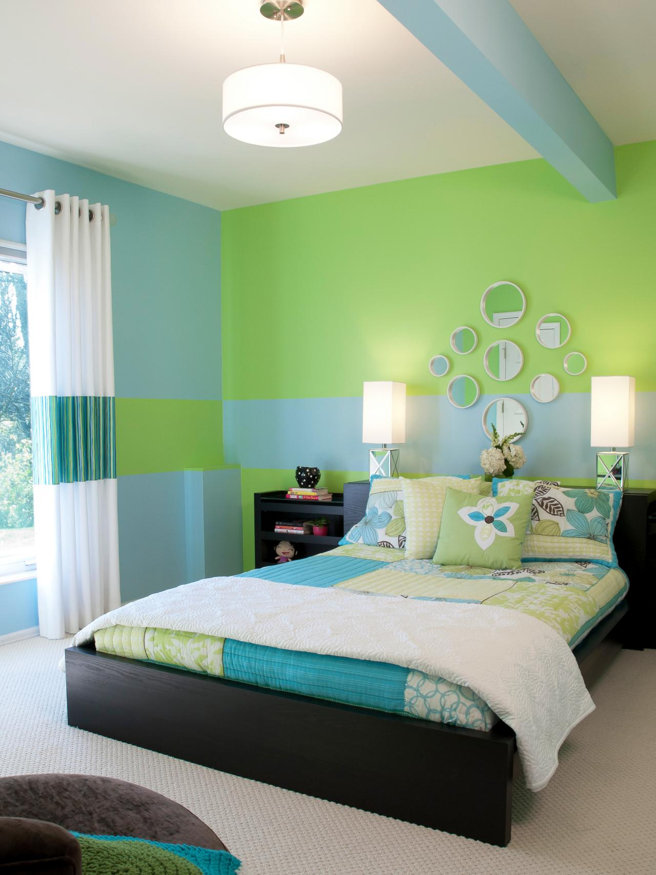 Learn how to create and hang a custom wall mural hgtv 39 s for Green bedroom design