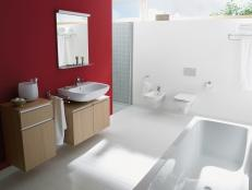 Modern White Bathroom With Red Accent Wall