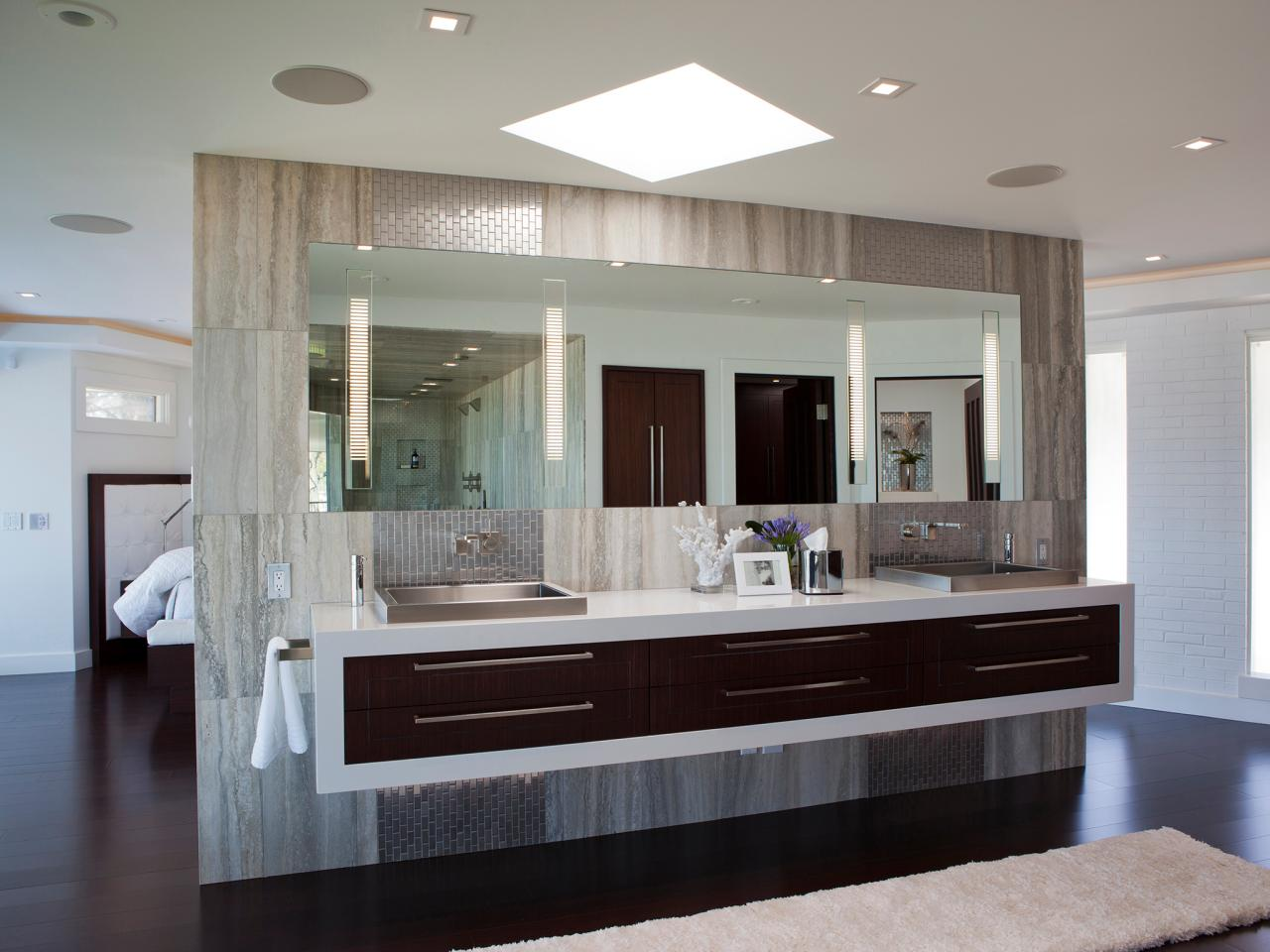 Bathroom stainless steel sinks hgtv for Photos of contemporary bathrooms