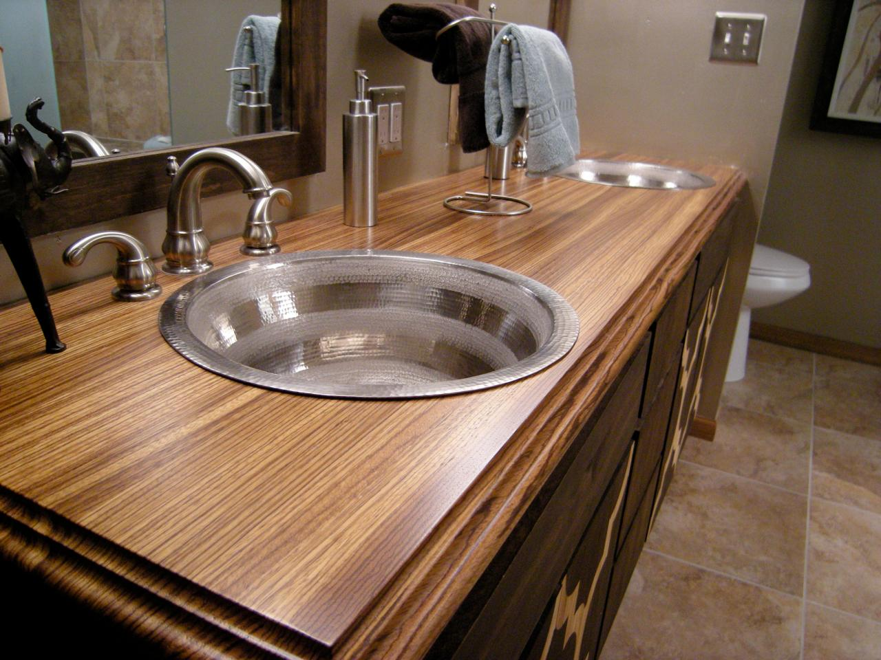 Bathroom countertop material options hgtv for Bathroom countertops