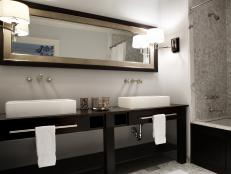 Transitional Gray And Black Double Vanity Bathroom