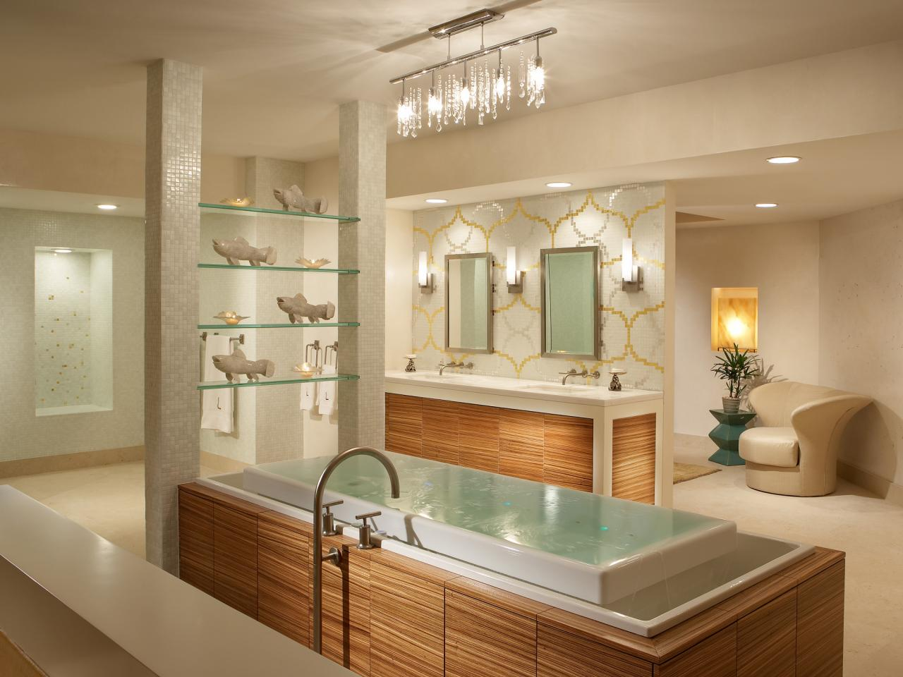 Modern bathroom lighting hgtv for Photos of contemporary bathrooms