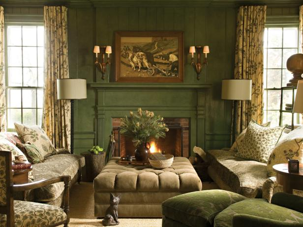 Green Traditional Study With Fireplace