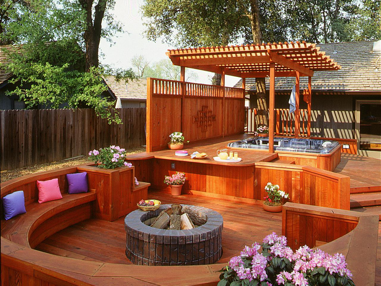 Outdoor Deck Designs with Hot Tub design
